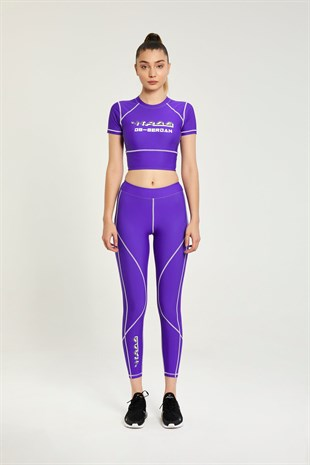Logo purple leggings