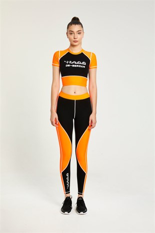 Logo black-orange leggings
